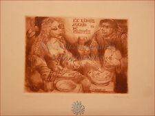 EROTICA - Ex-Libris Originale Firmato BEKKER Mario De Filippis Frate con Donna