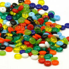50 Assorted 6mm Round Flat Rondelle Czech Glass Disc Beads In Mixed Colors