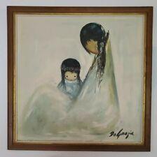 "Beautiful 1965 DeGrazia Navajo Mother & Child Art Print Custom Wood Frame 27.5"""