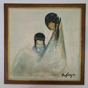 "1965 DeGrazia Navajo Mother Fine Art Print Picture Large Custom Wood Frame 27.5"""