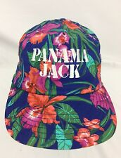 PANAMA JACK - Vtg 90s Blue Floral Hawaiian Adjustable Golf Dad Baseball Hat Cap