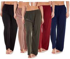 Ladies Women Trouser Elasticated wide leg High waist ITY Regular Pants Black Red