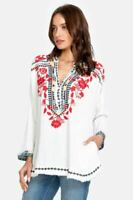 Johnny Was Belvedere Gauze Embroidered Blouse Boho Chic P10519 NEW