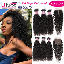 Mongolian Jerry Curly Human Hair Extensions With Lace Closure Virgin Hair Weaves