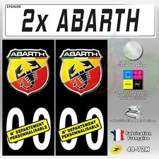 """2x Stickers Plaques D'immatriculation Fond Noir """"Abarth"""" Personnalisable 110x45"""