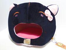 """Kuschelhöhle Körbchen """"Hello Kitty"""" für Katzen aus Plüsch - schwarz rosa - 40cm"""