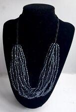 Blu notte metallizzato/lucentezza Perline Multi Strand Dichiarazione Collana-Nuovo Stile