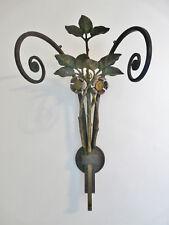 PAIRE D'APPLIQUES FER FORGE FLORAL PEINT ART NOUVEAU SECESSION 1900/10 VIENNE ??