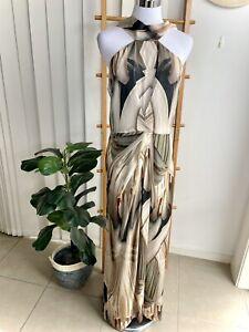Lisa Ho Silk Pattern Long Flowy Elegant Dress Size 12