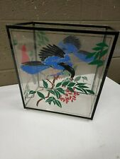 Vintage Hand Painted Waste Paper Basket Blue Red Birds Hollyberry 11