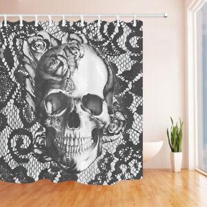 "Roses Flower Skull Grey Bathroom Fabric Shower Curtain Waterproof With Hooks 71"""