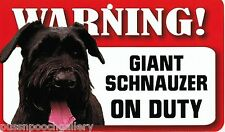 "Warning ""Giant Schnauzer"" on Duty-Laminated Cardboard Dog Breed Sign"