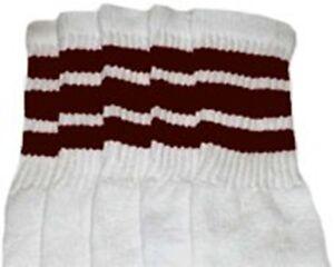 "22"" KNEE HIGH WHITE tube socks with DARK BROWN stripes style 1 (22-17)"