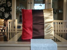 RED / BROWN AND GOLD SATIN CUSHION COVER
