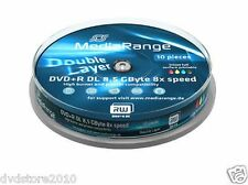10 MediaRange DVD R DL Double Layer 8x 8.5gb Printable Stampabili Mr468