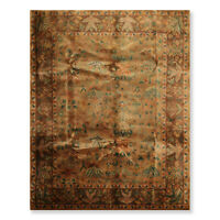 8' x 10' Hand Knotted Wool Silky Sheen Agra Traditional Oriental Area Rug Tan