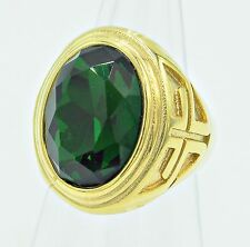 RING MEN CROSS EMERALD SOLITAIRE BISHOP STAINLESS STEEL YELLOW GOLD SIZE 10 r