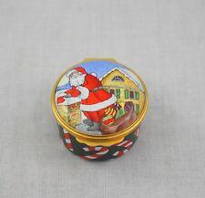 Halcyon Days Tiffany & Co Hinged Trinket Box Santa Rooftop Chimney Candy Canes