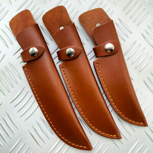 1X Cowhide Leather Straight Knife Sheath Pouch Cover For Fixed Blade Portable