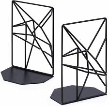 Book Ends for Shelves, Black Metal Bookends Decorative for Heavy Books, Decorati