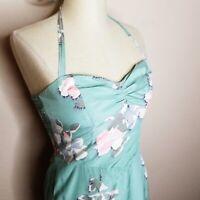 Betsey Johnson | Womens Size 4 Green Floral Silk Blend Halter Dress