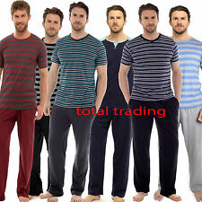 Mens Pyjamas Set Short Sleeve Top & Long Bottoms Pants Summer Pjs Pajamas