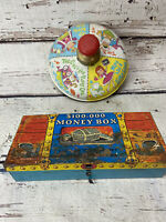 ANTIQUE VINTAGE CHEIN SPINNING TIN TOY TOP MADE IN USA 1940'S Vintage Money Box