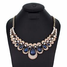 Art Clear Blue Austrian Crystal Rhinestone Bib Necklace Bridal Party Gold N8