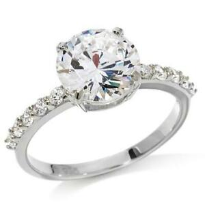 14K White Gold Over Round Simulated Diamond Solitire Ring Size 8
