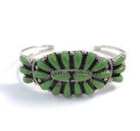 Native American Sterling Silver Navajo Handmade Gispite Cluster Cuff Bracelet