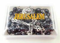 HEMATITE Rosary Gemstone beads JERUSALEM SOIL CATHOLIC CRUCIFIX NECKLACE