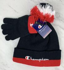 Champion Boys Kids Knit Hat Glove Set Navy Red One Size Beanie Pom Pom Nwt