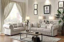 Tranditional 2P Sofa Set Sofa Loveseat Neutral Tone Fabric Living Room Furniture