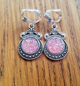Silvertone Clip On Earrings Pink Opal Druzy inserts, Tribal, Boho Steampunk