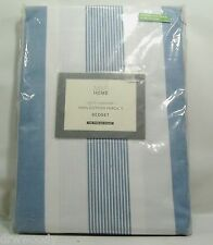 NEW MARKS AND SPENCER HADLEY STRIPED DUVET COVER/2 Cases QUEEN Blue Stripe