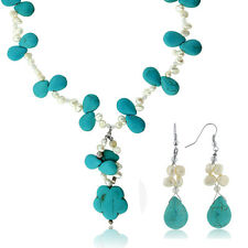 """20"""" Drop Shape Turquoise Howlite + Cultured Freshwater Pearl Necklace & Earrings"""