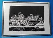 Holzschnitt, Hermann Ober,Titel 1874, Berge und Wolken, Handdruck, 95/100