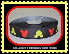 7/8 INCH MICKEY MOUSE HEADS ON BLACK GROSGRAIN RIBBON- 1 YARD