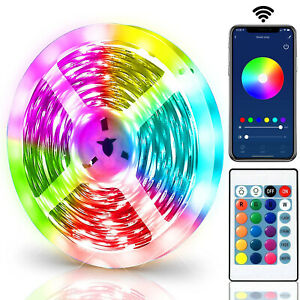 LED Strip Lights 5050 RGB Light Colour Changing Tape Cabinet TV USB Bluetooth UK