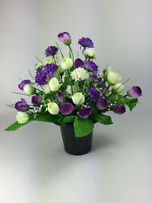 Purple Mix Artificial/Silk flowers Grave Arrangement in memorial Crem pot