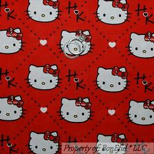 BonEful Fabric Cotton Quilt Red Black White Bow Dot HELLO KITTY Heart Girl SCRAP