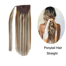 Ponytail Human Hair Extensions One Piece Highlights Ash Brown to Light Blonde