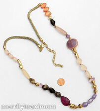 Chico's Signed Necklace Long Gold Tone Chunky Beads Purple Black Orange Pink