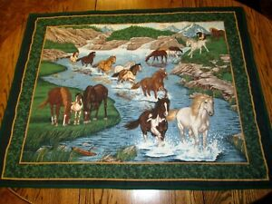 Handmade Quilted Wall Hanging Horses~horse print 44 x 34 mountains outdoor