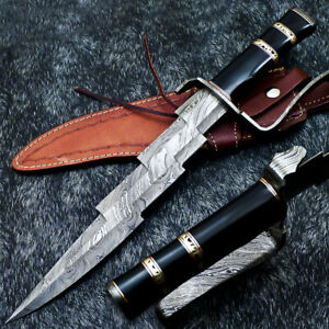 """Authentic HAND FORGED DAMASCUS 16.0"""" HUNTING KNIFE - BULL HORN HANDLE - WD-9529"""