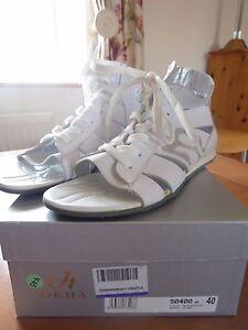 DEHA dance leather ladies sandals white silver size 40 unused boxed