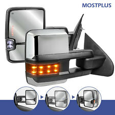 Power Fold+Heated Led Signal Towing Mirrors For 14-18 Chevy Silverado Gmc Sierra