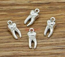 25pcs Tooth Teeth Charms Dental 3D Charm 2 Sided Antique Silver Tone 16x8 2618