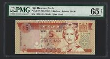 1996 FIJI $5 Dollars P-97, Scarce and Underrated Type, PMG Gem UNC 65 EPQ, QEII