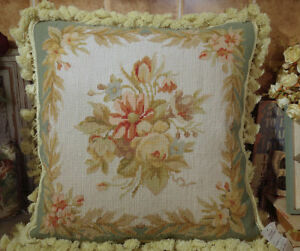 """16"""" Vintage Pale Green Ivory Rose Leaves Beautiful Needlepoint Pillow"""